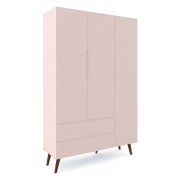 Guarda Roupa Retrô 3 Portas Smart Fiorello Cor Rose