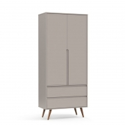 Guarda Roupa Retrô Clean 2 Portas Matic Cor Cinza Eco Wood