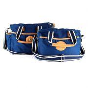 Kit Bolsa Maternidade Sarja Azul Marinho Classic for Baby Cor Azul