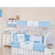 Kit de Berço Coroa 9 Peças Azul Bebê - Brubrelel