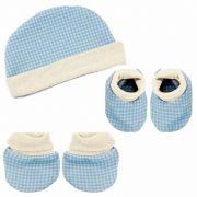 Kit Inverno para Bebê com touca, luva e sapatinho Little Bear Hug Baby Cor Azul