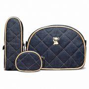Kit Viagem Classic for Baby Bags Koala Jeans Dourado Cor Azul
