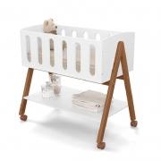 Mini Berço Sissi Matic Cor Branco Soft/Eco Wood