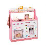 Porta Brinquedos Kitchen Móveis Estrela Cor Rosa e Branco