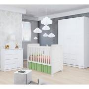 Quarto de Bebê Helena c/Berço Bambino Phoenix Branco Brilho