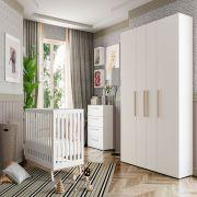 Quarto de Bebê Luna com Berço Smart Baby Fiorello Cor Branco Acetinado