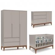 Quarto de Bebê Nature Clean 3 Portas Matic Cinza Eco Wood