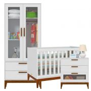 Quarto de Bebê Nature Glass 2 Portas Matic Cor Branco