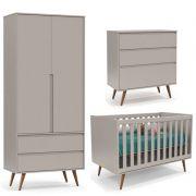 Quarto de Bebê Retrô Clean 2 Portas Matic Cor Cinza Eco Wood