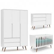 Quarto de Bebê Retrô Clean 3 Portas Matic Branco Eco Wood
