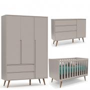 Quarto de Bebê Retrô Clean 3 Portas Matic Cor Cinza Eco Wood