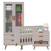 Quarto de Bebê Retrô Glass 2 Portas Matic Cor Cinza Eco Wood