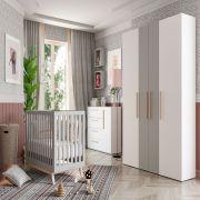 Quarto Luna com Berço Smart Baby Fiorello Cor Branco Acetinado e Cinza