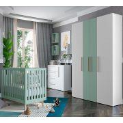Quarto Luna com Berço Smart Baby Fiorello Cor Branco Acetinado e Verde Menta