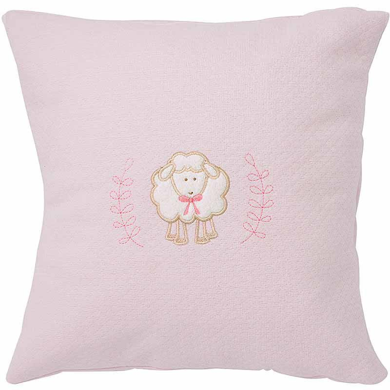 Almofada bordada infantil Algodão Doce Hug Baby Cor Rosa