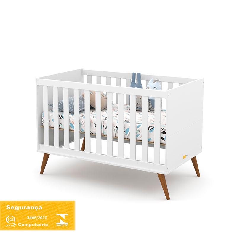 Berço Americano Gold Matic Cor Branco Soft/Eco Wood