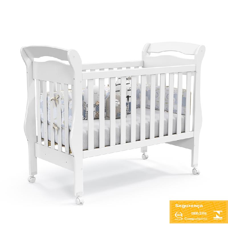 Berço Americano Mini Cama Bambini Matic Cor Branco Brilho
