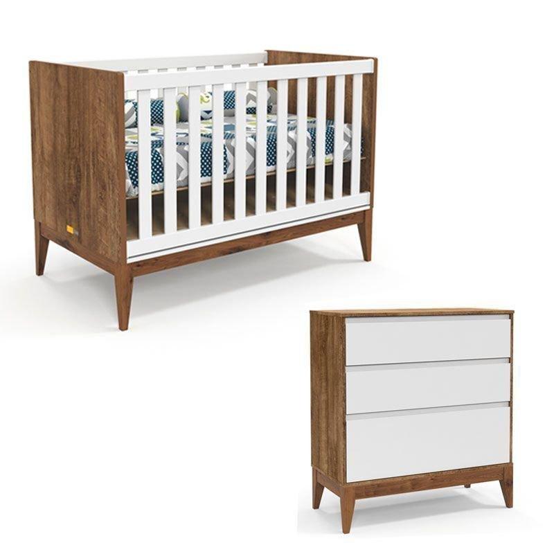 Berço e Cômoda Nature Clean Matic Branco Soft Teka Eco Wood