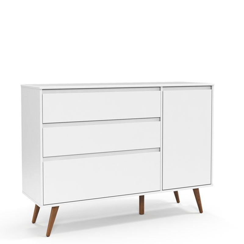 Berço e Cômoda Retrô Clean com Porta Matic Cor Soft Eco Wood