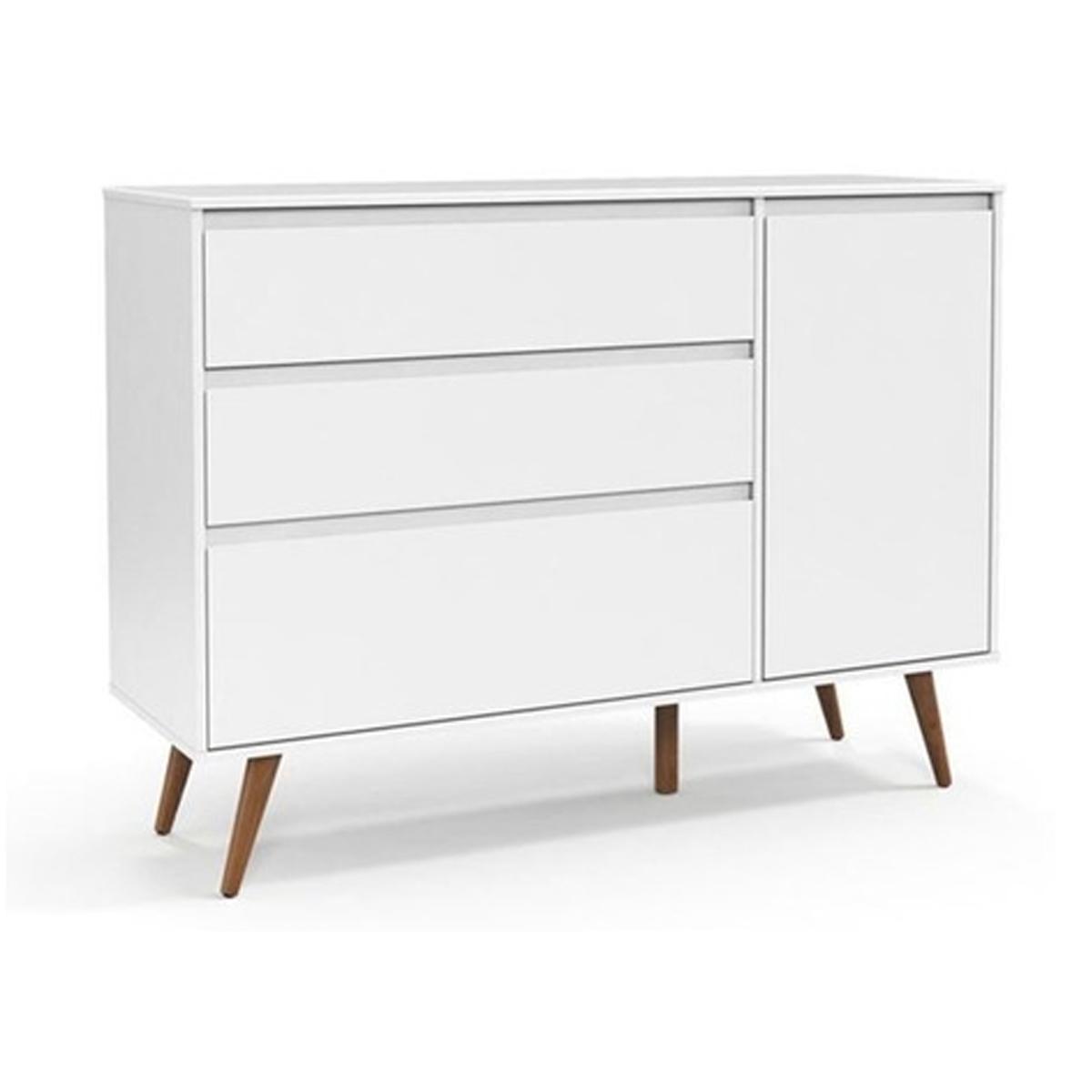 Berço e Cômoda Retrô Clean com Porta Matic Cor Soft Eco Wood