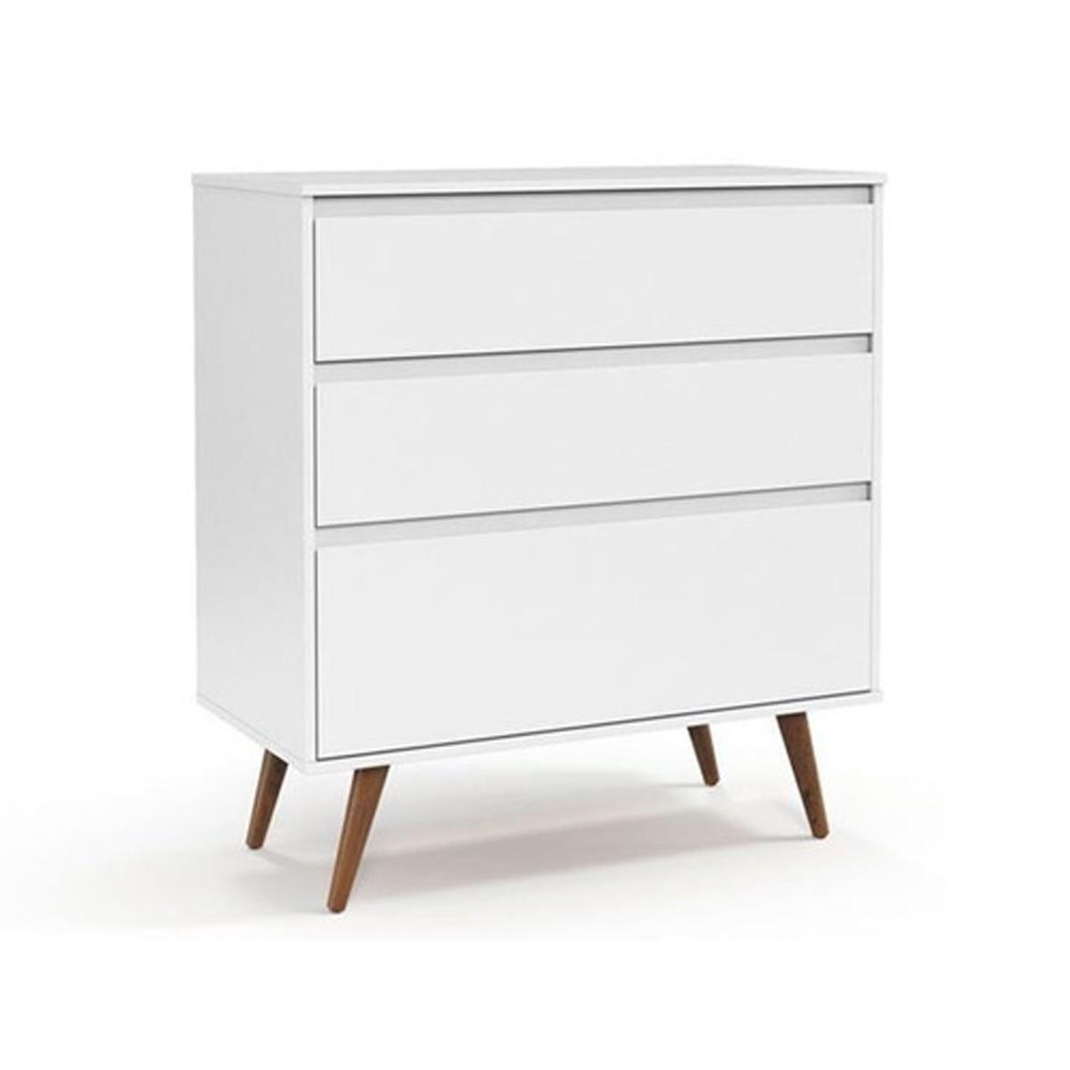Berço e Cômoda Retrô Clean Matic Cor Branco Soft Eco Wood