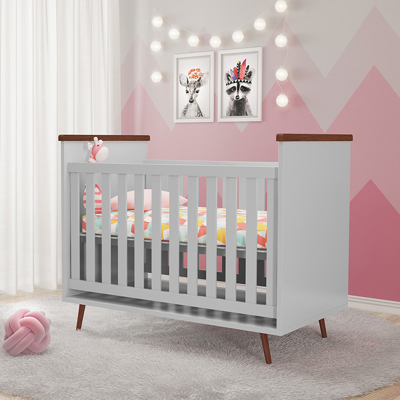 Berço e Guarda Roupa Melissa Phoenix Baby Cinza Amadeirado