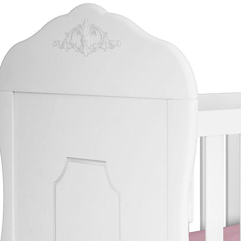 Berço e Guarda Roupa Provençal Realeza 4 Portas Canaã Cor Branco Acetinado