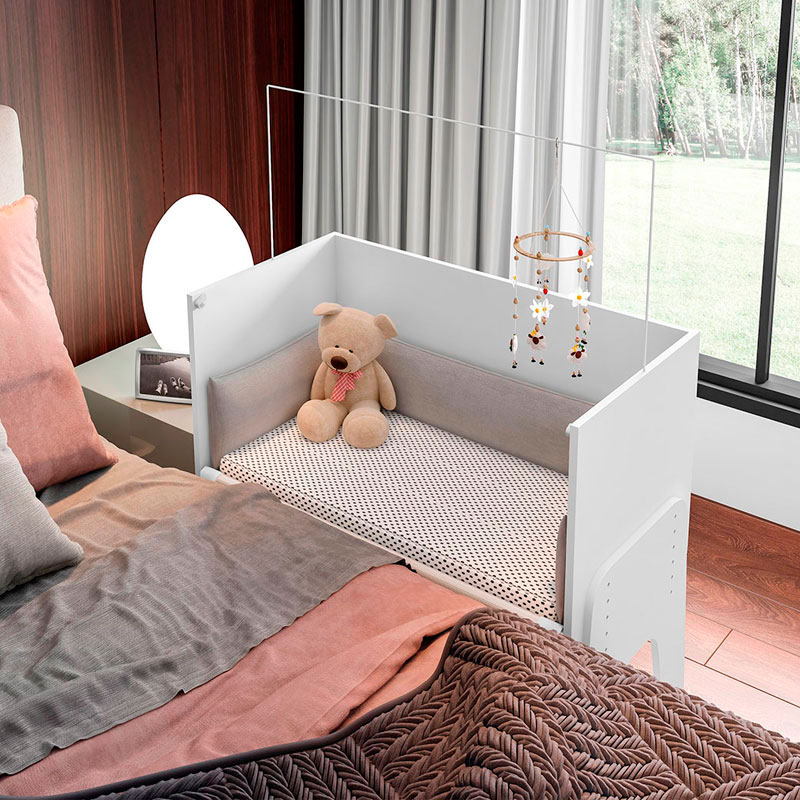 Berço Multifunção Bedside c/Colchão e Travesseiro+Kit Berço