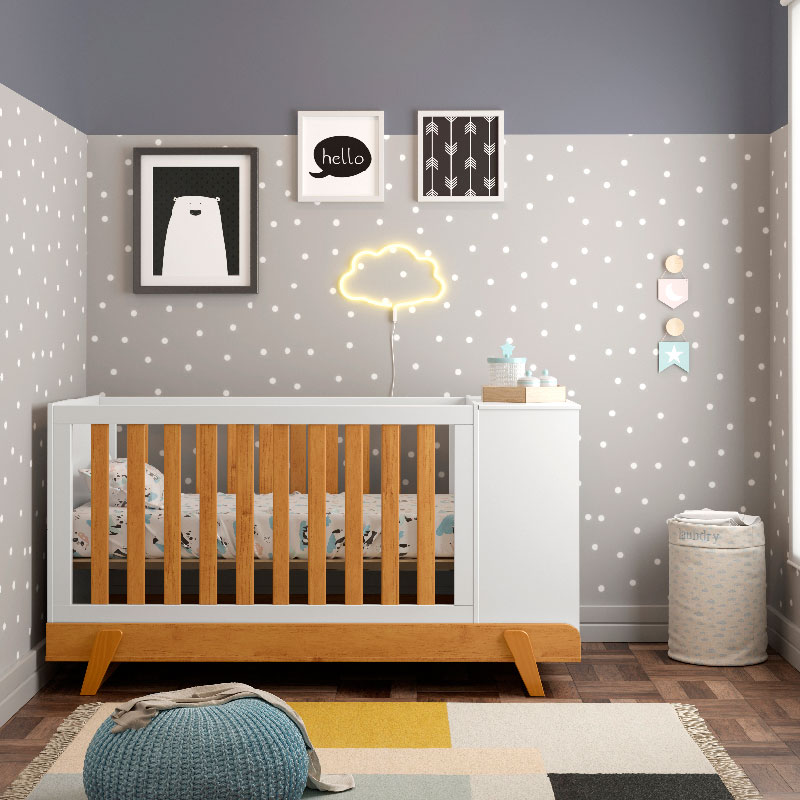 Berço Multifuncional Bkids Matic Branco Soft Freijó/Eco Wood