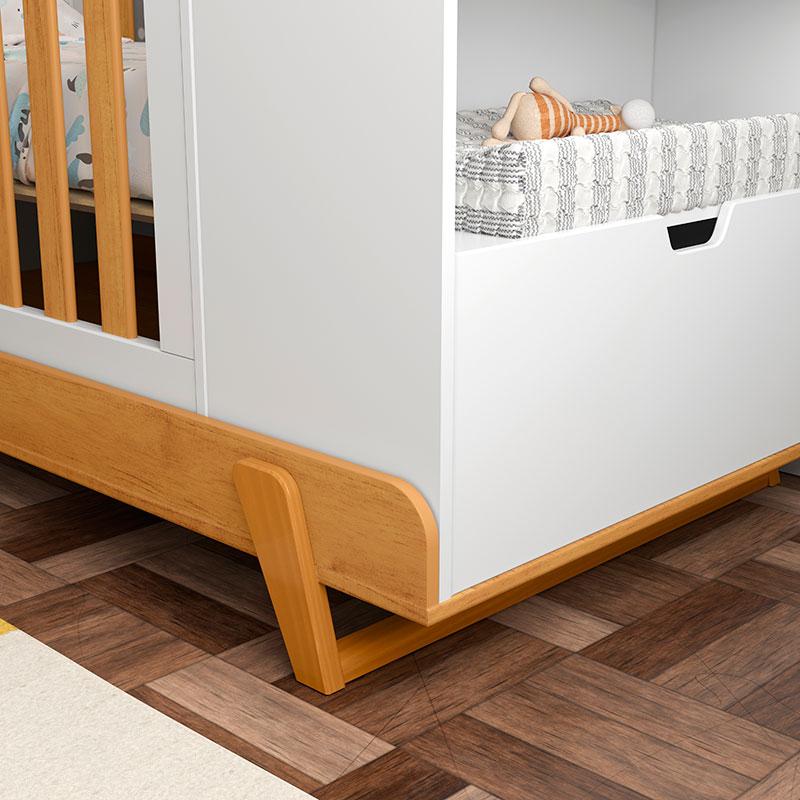 Berço Multifuncional Bkids Matic Branco Soft Freijó/Eco Wood