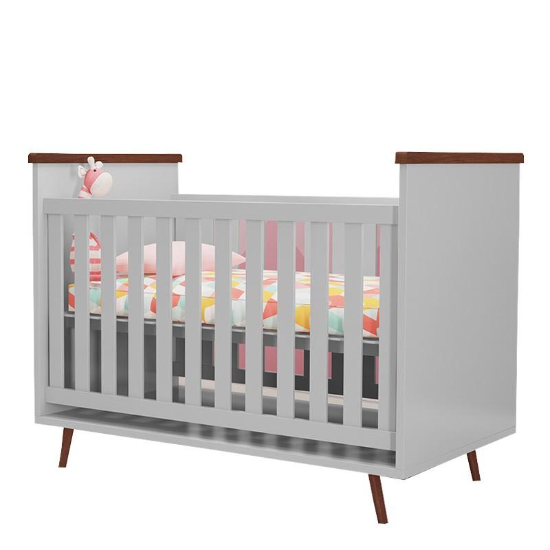 Berço Retrô Baby Wood Phoenix Baby Cor Cinza Amadeirado