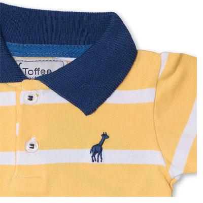Body Infantil Gola Polo Amarelo Toffee - Nº3 a 6 meses