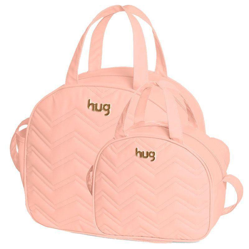 Bolsa Chevron Kit 2 Peças Hug Cor Rosa