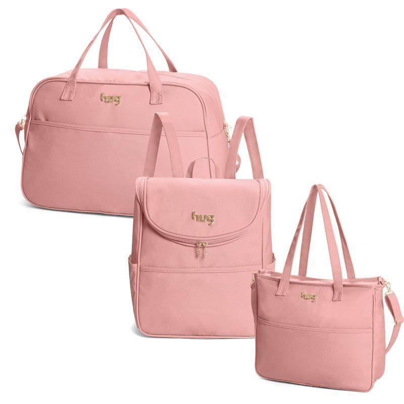Bolsa Classic Kit 3 Peças Hug Cor Rosa