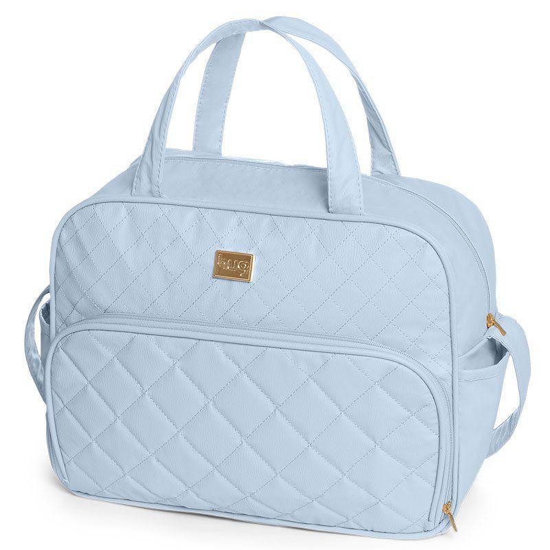 Bolsa Maternidade com Trocador Matelassê Hug Cor Azul Bebê