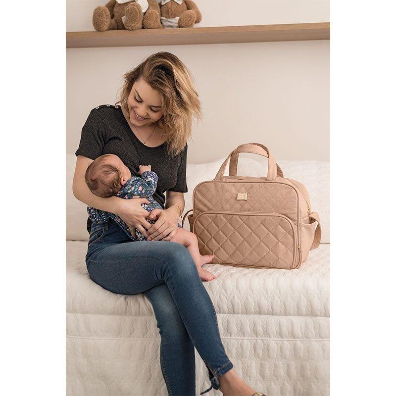 Bolsa Maternidade com Trocador Matelassê Hug Cor Bege