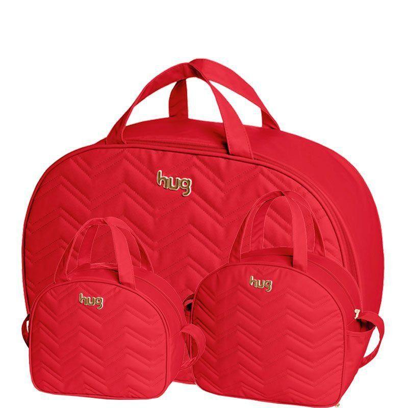Bolsa Maternidade Kit 3 Peças Chevron Hug Cor Vermelho