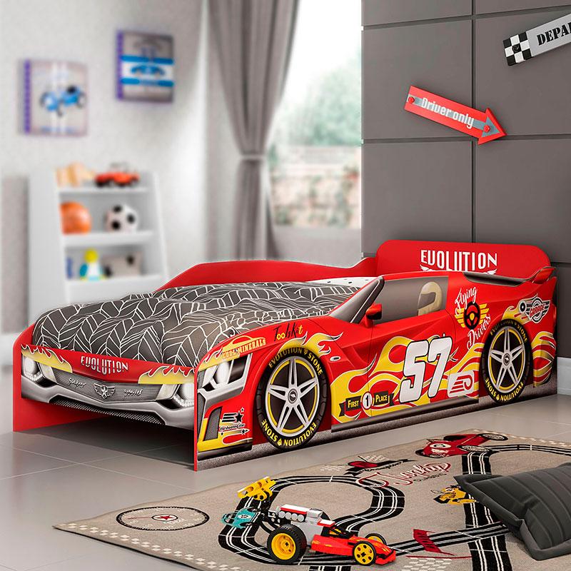 Cama Infantil Evolution Car Móveis Estrela Cor Vermelho