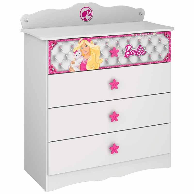 Cômoda Barbie Disney Star 4 Gavetas Pura Magia Branco