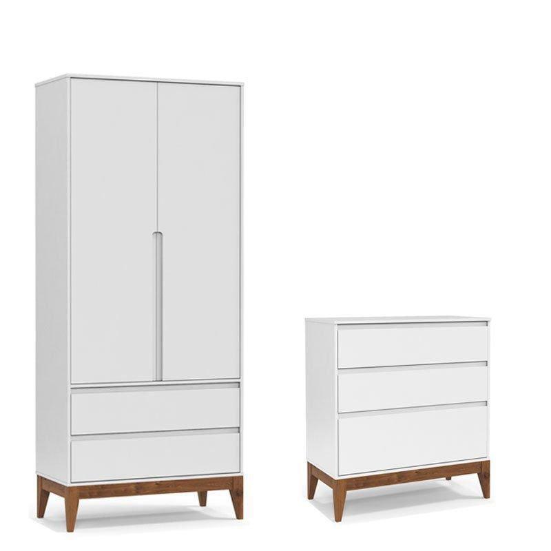 Cômoda e Guarda Roupa Nature Clean Matic Branco Soft Wood