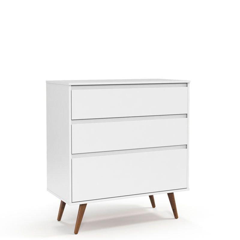 Cômoda e Guarda Roupa Retrô Clean Matic Branco Soft Eco Wood