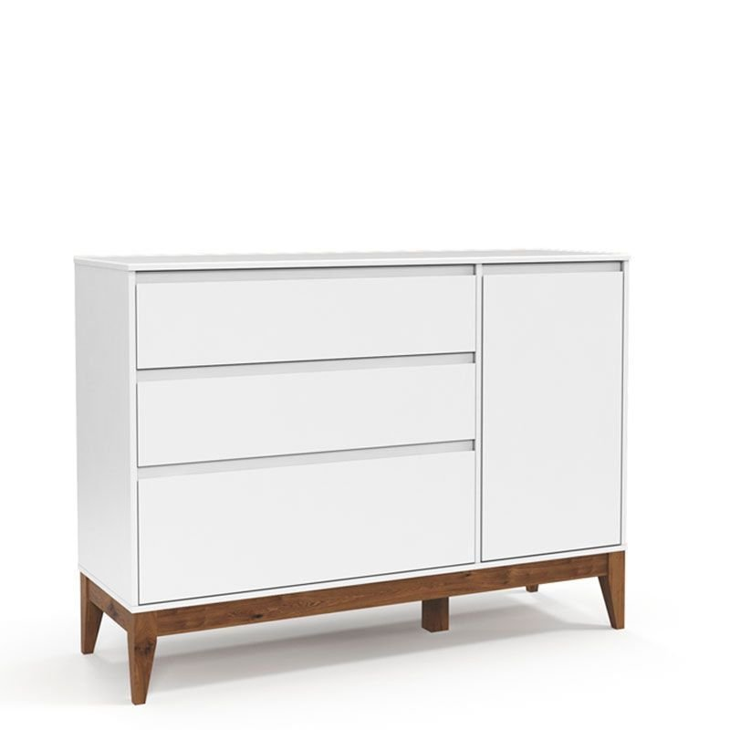 Cômoda Nature Clean 3 Gavetas Matic Cor Branco Soft Eco Wood