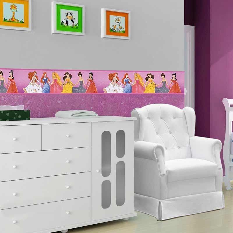 Faixa Para Quarto de Bebê Boldor Cor Princesas