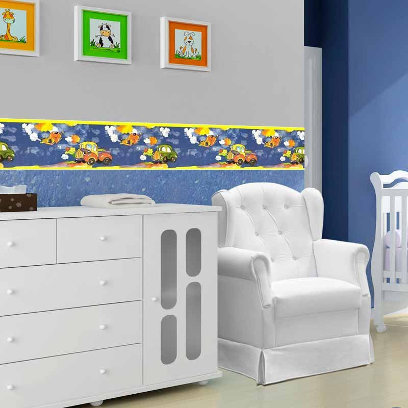 Faixa Para Quarto De Bebê Carros Boldor Cor Azul