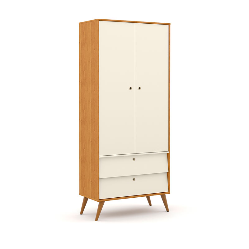 Guarda Roupa 2 Portas Gold Matic Freijó Off White/Eco Wood