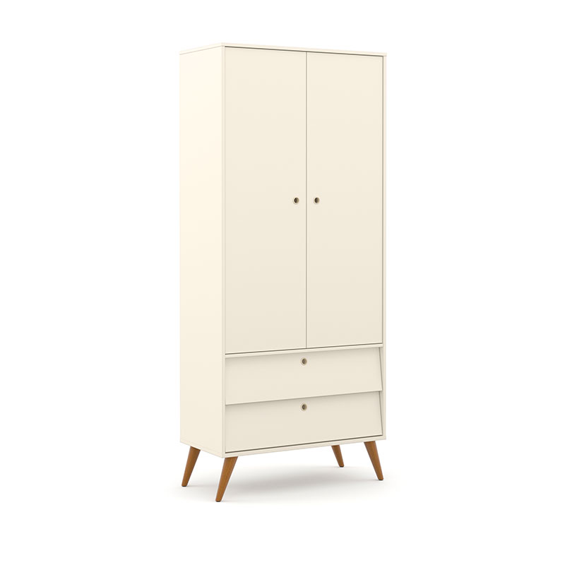 Guarda Roupa 2 Portas Gold Matic Off White/Eco Wood
