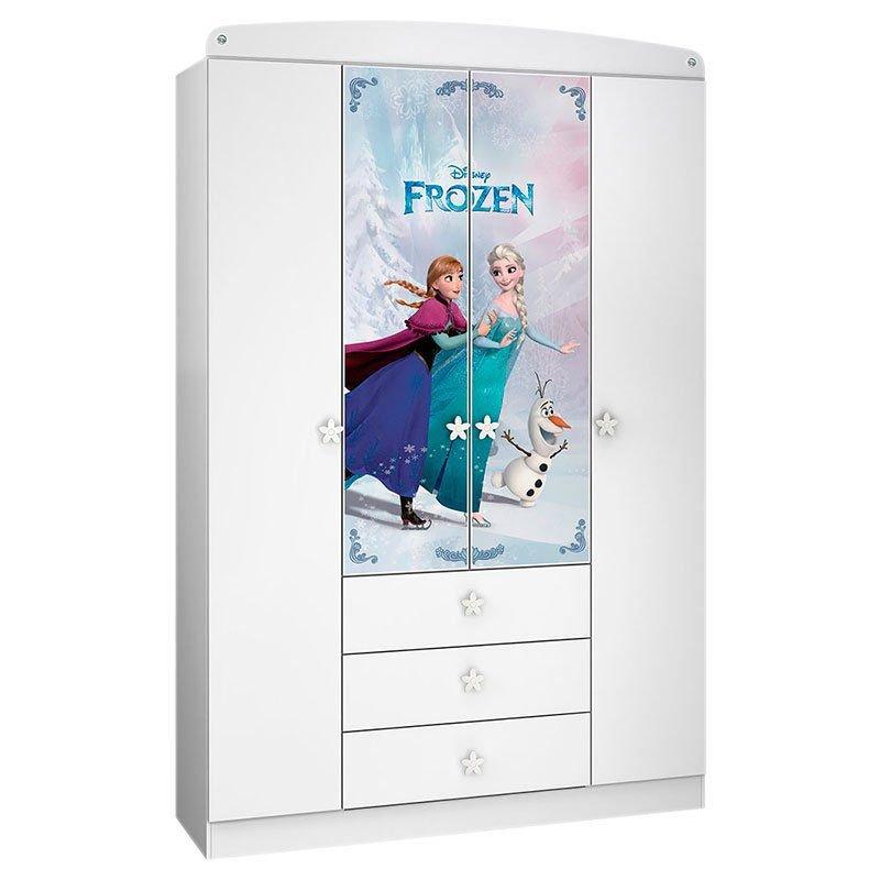 Guarda Roupa Infantil Frozen Star 4 Portas Pura Magia Branco