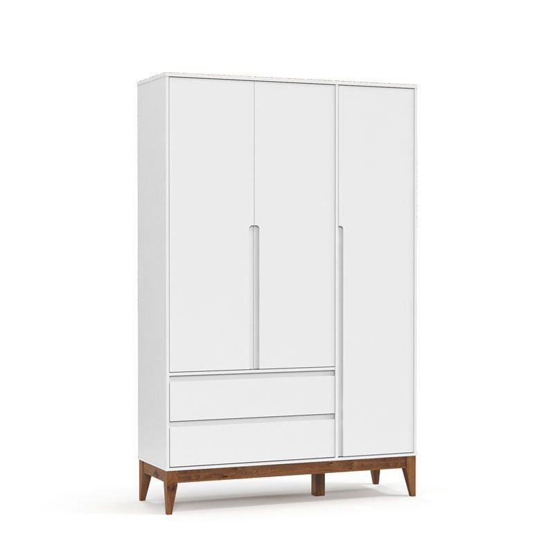 Guarda Roupa Nature Clean 3 Portas Matic Cor Branco Eco Wood