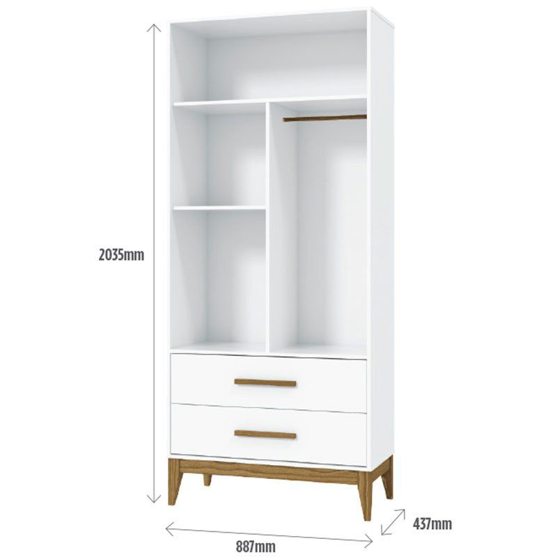 Guarda Roupa Nature Glass 2 Portas Matic Cor Branco