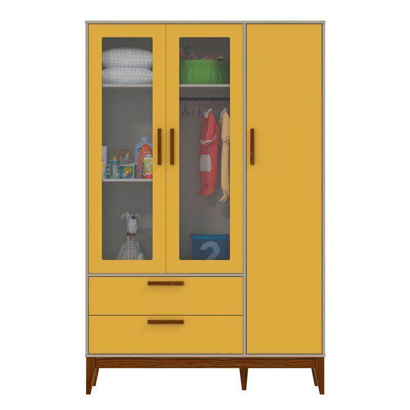 Guarda Roupa Nature Glass 3 Portas Matic Cor Cinza Amarelo